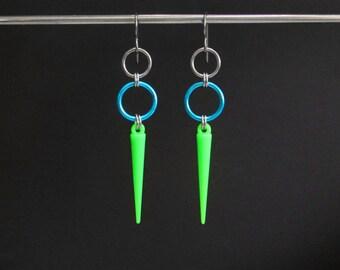 Neon Green Earrings, Spike Earrings, Neon Green Jewelry, Long Dangle Earrings, Lightweight Dangle Earrings, Hypoallergenic Earrings