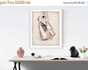 FLASH SALE til MIDNIGHT Vintage Ballet Slippers Photo Print, Girls Nursery decor, French Decor Ballerina girls room prints, Ballet Prints,