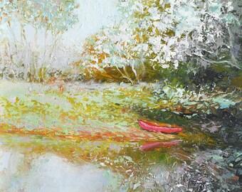 Landscape painting, paintings of trees, miniature art, original landscape art, impressionist art, autumn trees painting, Etsy Art,Jan Matson