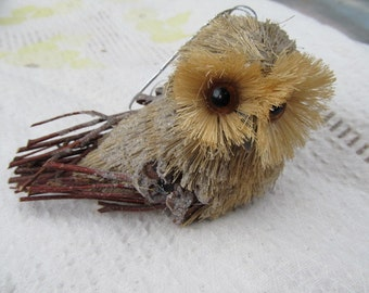 Vintage Rustic Twig Pinecone  Brush Owl Ornament