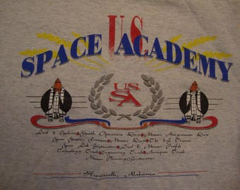 Vintage 90's US Space Academy Huntsville, Alabama Double Collar Gray T Shirt Size XL