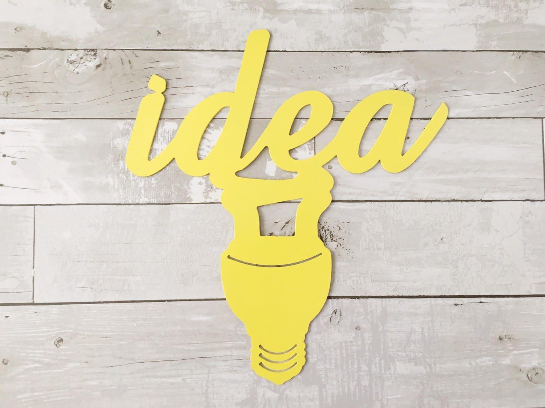 Idea Wall Sign Idea Metal Sign Metal Wall Art Yellow