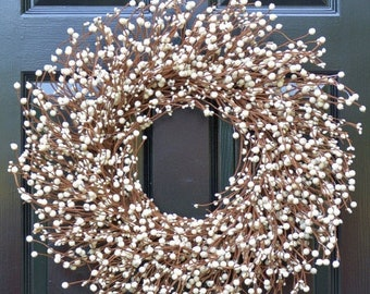 SPRING WREATH SALE Cream Berry Wreath- Berry Door Wreath- Year Round Wreath- White or Cream Wedding Wreath- Christmas Wreath- Winter Wreath-