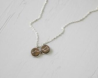 Сonstellation necklace / Ursa Major / Big dipper necklace / Wood necklace / Double necklace / Space jewelry / Gift for her