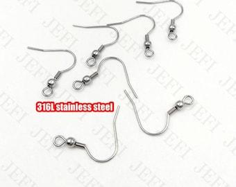 100 316L Stainless Steel Ear Wire with Loop 20x20mm Bead and Coil Wholesale Earrings Hypoallergenic Earrings Ear Hooks
