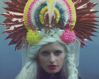 SALE! Giant statement fan metallic iridescent headpiece - Drag / theatre