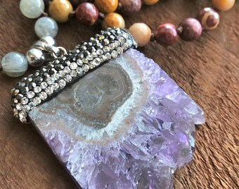 Amethyst Mala, Labradorite Quartz Mookaite Mala Necklace, Bohemian Necklace, Healing Necklace, Yoga Bracelet, Chakra Necklace, Prayer Beads