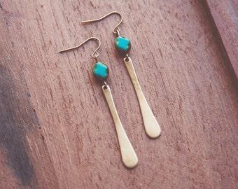 boho minimalist turquoise teardrop earrings.