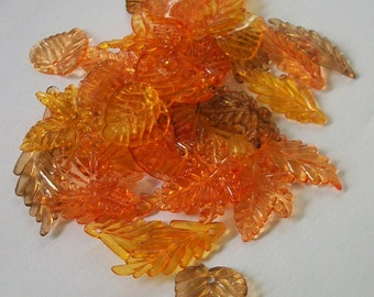 50 Acrylic Leaves in shades of orange and brown -- ASSORTMENT