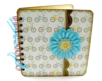 Just Wheeling Along Lined Journal, 6x6, aqua, green, tangerine, brown