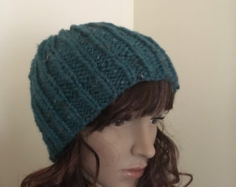 Knit Hat, Ribbed Slouch Hat, Slouchy Hat, Knit Beanie, Fashion Accessory, Stocking Stuffer (KH-028/Color:Blue Tweed Size-Adult)