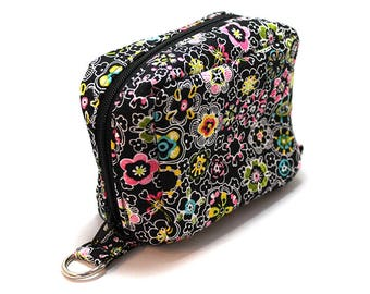 Essential Oil Case Holds 6 Bottles Essential Oil Bag ChaCha Small Flowers on Black