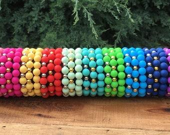 Silicone Bead Bracelet 10mm - Elastic - Many Colors- Womens Ladies Bracelet