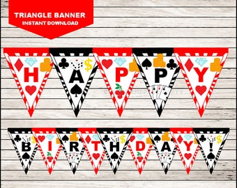 Casino Night Poker Triangle Banner instant download, Casino Banner, Casino Night Poker Party Banner