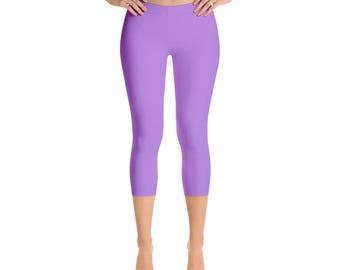 Capris Lavender Leggings, Mid Rise Waist Workout Pants, Womens Yoga Leggings
