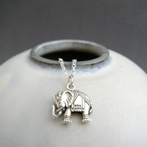 Sterling Silver Indian Elephant Necklace Small Boho Pendant