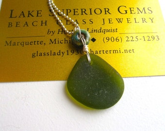 Wonderful Moss Green Real Lake Superior Beach Glass Pendant Necklace