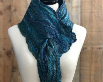 Merino Wool Tussah Silk Cowl Collar Neck Warmer Scarf Fiber Art Textile Wearable Spring Scarf Free Shipping Unique Gift for Her Blue Scarf