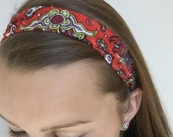 Orange Paisley Elastic Headband