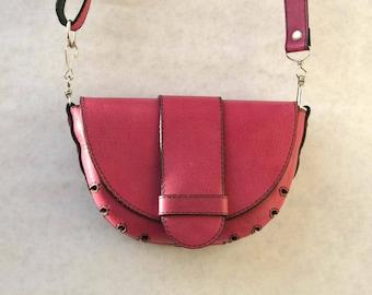 Small leather crossbody or belt purse, feminine shoulder / belt strap handbag, women bag, gift for her, light rose, pale magenta, debudok