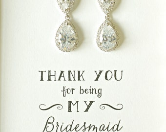 Bridesmaids Crystal Teardrop Earrings, Cubic Zirconia Crystal Wedding Earrings, Bridesmaid Earrings, Thank you for being my bridesmaid, ES1