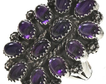 Navajo Amethyst Cluster Silver Ring Old Pawn Petit Point Design