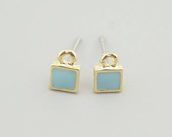5 Pairs Gold Square Earring Stud,Blue Earring Post ER011