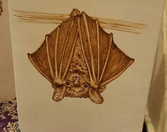Refillable Leather Journal with Burned Bat Design