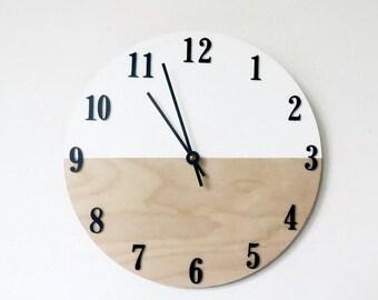 Modern Decor, Clocks,  White & Wood Home Decor ,  Housewares, Home and Living, Unique Wall Clock