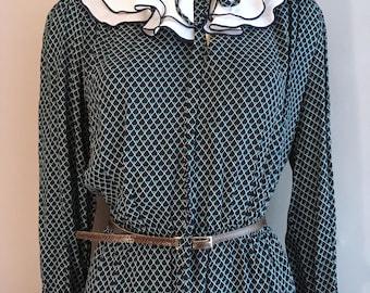 1980s vintage secretary dress with big frilly collar size 10- 14 UK