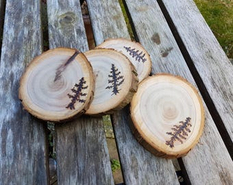 Live Edge Pine tree Coasters, Pyrography Art, woodburned  on a cedar wood slice, set of 2 or 4, made for nature lovers, cabin, cottage decor