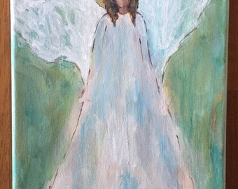 Angel Painting, Angel Art, Angel Wings, Guardian Angel, Farmhouse Decor, Easter, Original Painting, Spiritual Art, Gift for Her, Angel, Love
