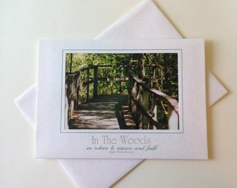 Wooded Walkway Photo Note Card Blank Inside Inspirational Quote