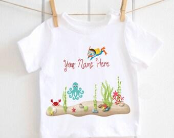 Baby diver toddler Tshirt - under the sea, baby top, toddler top, baby Tshirt, sea diver, octopus, coral reef, sea explorer, babyshower gift