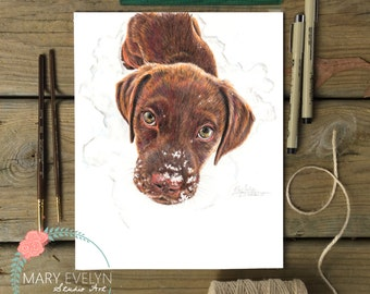 """8"""" x 10"""" Custom Color Pencil Pet Portrait Drawing with Optional Background"""
