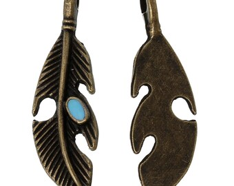 6 charms bronze metal inlaid with turquoise feather