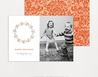Personalized holiday cards- photo christmas cards- damask wreath