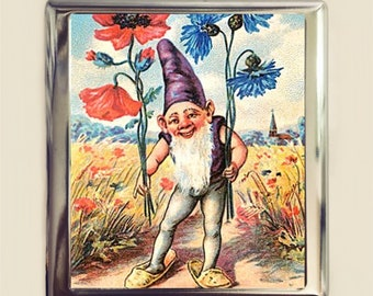 Garden Gnome Cigarette Case Business Card ID Holder Wallet Lawn Ornament Retro Kitsch Whimsical