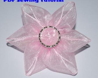 Instant Download - PDF Tutorial - Ribbon Flower 03 Sewing Pattern