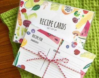 Watercolor Fruits & Veggies Blank Recipe Cards