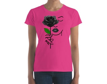 One and Only Black Rose Women's short sleeve t-shirt tops and tees
