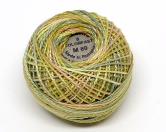 Valdani Pearl Cotton Thread Size 12 Variegated: #M80 Distant Grass