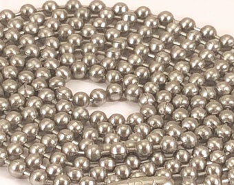 10 (ten) 30 inch stainless steel ball chains - great for pendants, military id dog tags - made in the USA