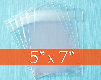 100 5 x 7 inch Resealable Cello Bags, Clear Cellophane Plastic Packaging, Acid Free