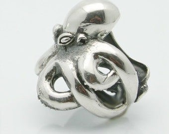 Silver octopus ring  .925 sterling made in NYC Blue Bayer Design