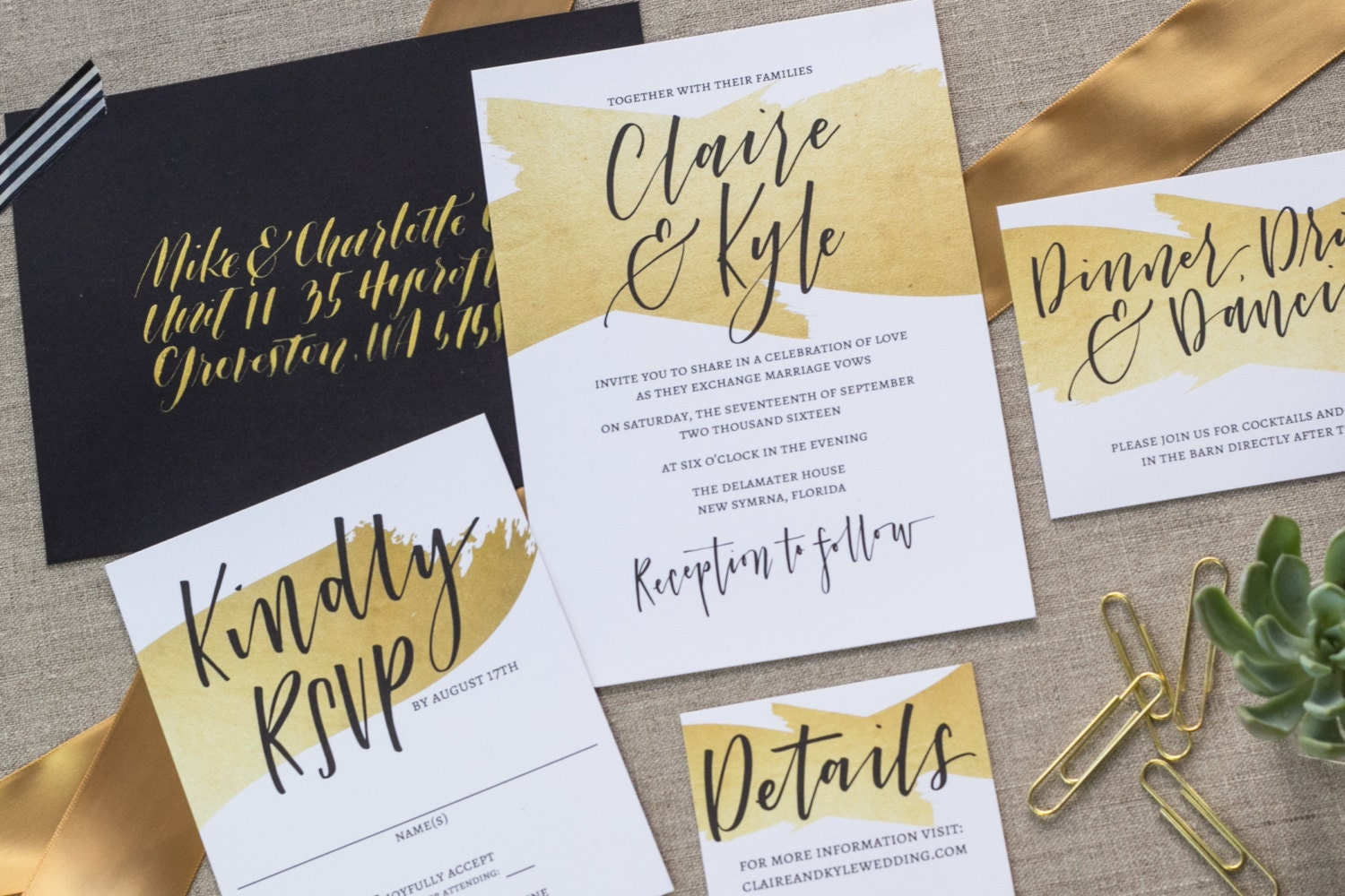 Custom Made Wedding Invitations: Wedding Invitation Set Custom Hand Lettering Faux Gold Foil