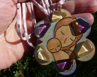"""Motherhood wooden flower shape pendant """"Petals of love"""" original handmade painted, pyrography and mosaic by Gioia Albano"""