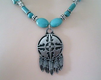 Warrior Shield Turquoise Necklace, southwestern jewelry, southwest jewelry, turquoise jewelry, native american jewelry theme, western