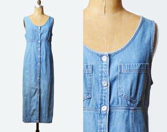Vintage 90s Denim Midi Dress / 1990s Grunge Button Up Blue Normcore Scoop Neck Medium Blue Plain Sleeveless Sheath Medium m
