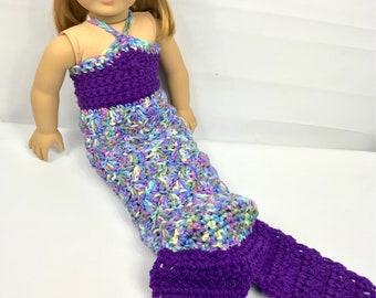 "Mermaid doll outfit, 18"" doll clothes, purple doll costume, doll crown, rainbow mermaid"